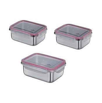 Contenitori Inox Lunch Box Con Coperchio Set 3 Misure Küchenprofi