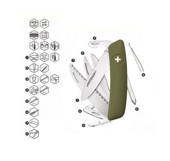 Coltellino Multiuso Tascabile Swiza D10 OLIVE