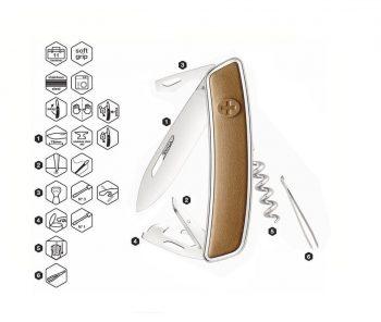 Coltellino Multiuso Tascabile Swiza D03 LEATHER BROWN