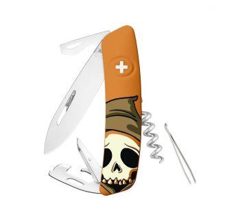 Coltellino Multiuso Tascabile Swiza D03 HALLOWEEN SKULL HEAD ORANGE
