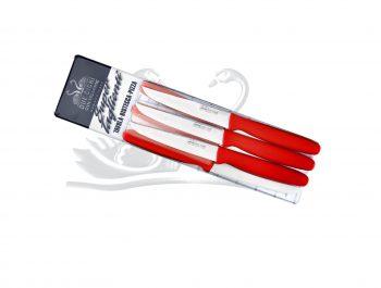 Coltello da Bistecca Lama Liscia 6pz Rosso Due Cigni